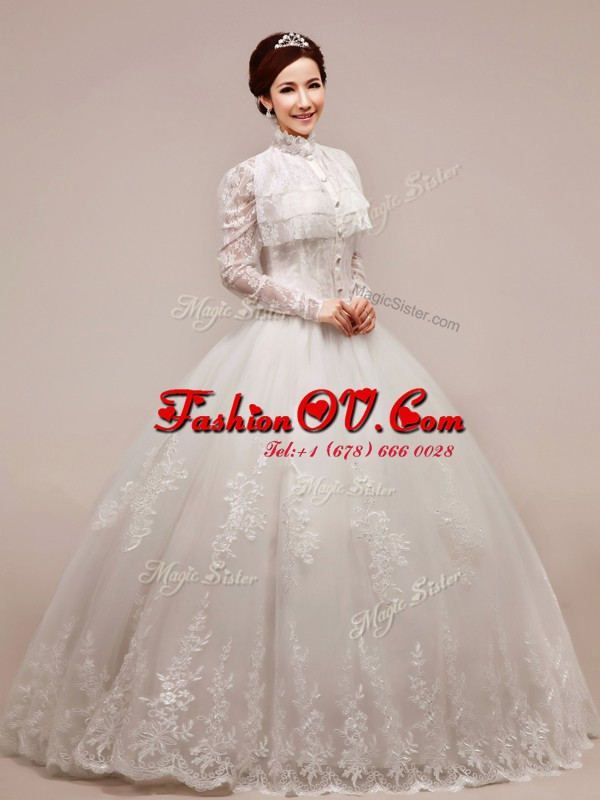 High-neck Sleeveless Bridal Gown Floor Length Beading and Appliques White Chiffon