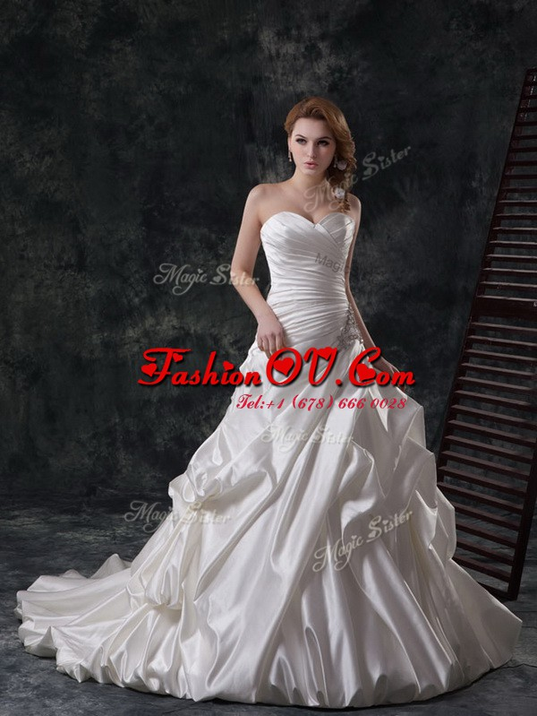 Edgy Pick Ups A-line Sleeveless White Wedding Gown Court Train Lace Up
