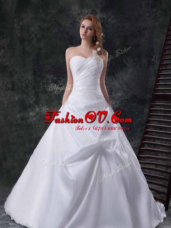 One Shoulder Beading and Pick Ups Wedding Gown White Lace Up Sleeveless With Brush Train