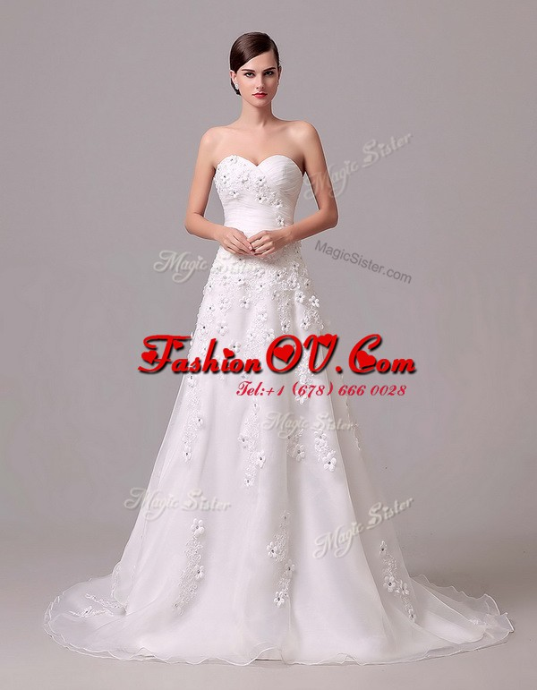 White Lace Up Sweetheart Appliques and Hand Made Flower Wedding Gowns Chiffon Sleeveless Brush Train