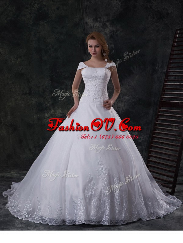 Organza Off The Shoulder Cap Sleeves Brush Train Lace Up Beading and Lace and Embroidery Bridal Gown in White
