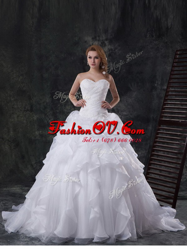 With Train Lace Up Bridal Gown White and In with Beading and Appliques and Ruffles Brush Train