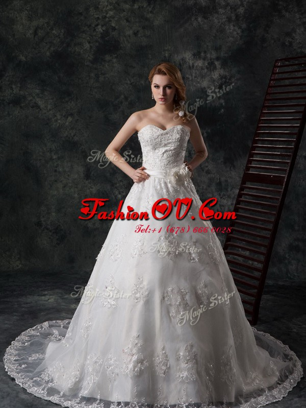 On Sale White Sweetheart Lace Up Beading and Appliques and Hand Made Flower Bridal Gown Court Train Sleeveless