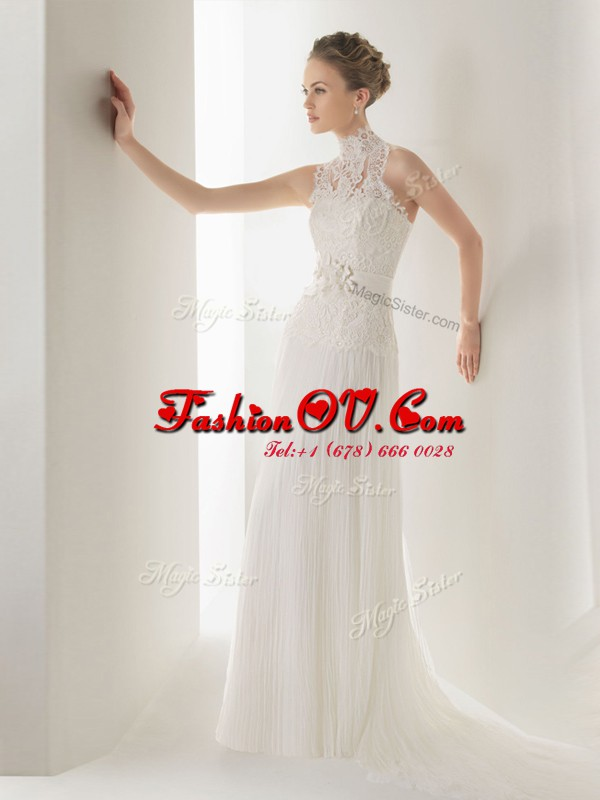 Cute Halter Top White Sleeveless With Train Lace and Belt Clasp Handle Bridal Gown