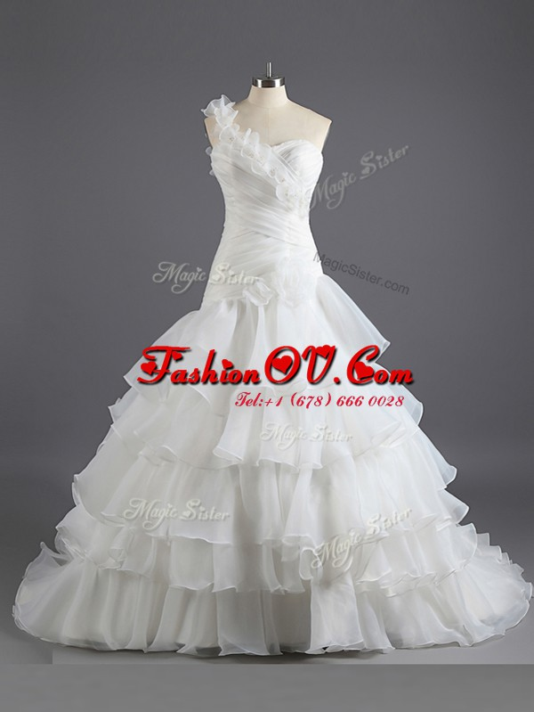 Delicate With Train Lace Up Wedding Dresses White for Wedding Party with Beading and Ruffled Layers and Ruching Court Train