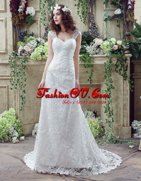 Glorious Sleeveless Brush Train Lace Up Lace and Appliques Wedding Gown