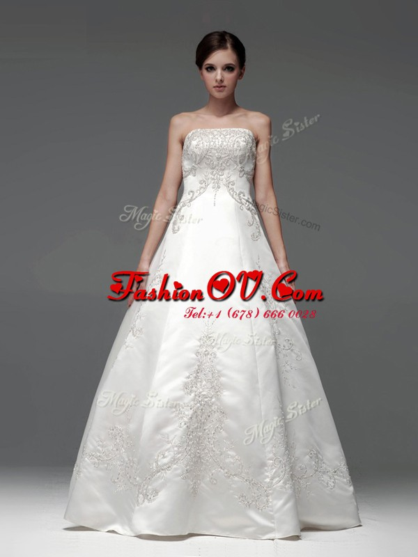 White A-line Strapless Sleeveless Satin Floor Length Lace Up Embroidery Wedding Dress
