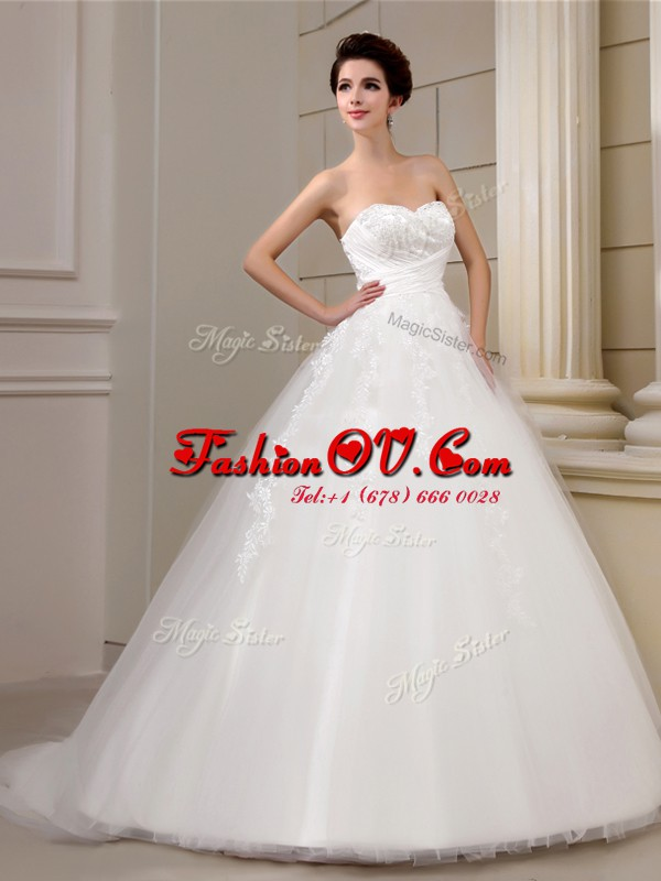 Sleeveless Court Train Lace Up With Train Appliques Bridal Gown