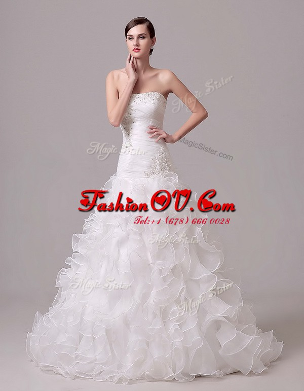 Sleeveless Court Train Lace Up With Train Beading and Appliques and Ruffles and Ruching Bridal Gown