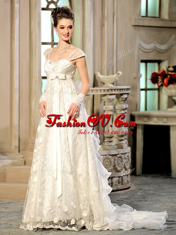 Amazing With Train Empire Cap Sleeves White Wedding Gown Brush Train Lace Up