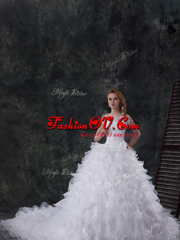 White Wedding Dress Wedding Party and For with Beading and Ruffles Scoop Sleeveless Chapel Train Lace Up
