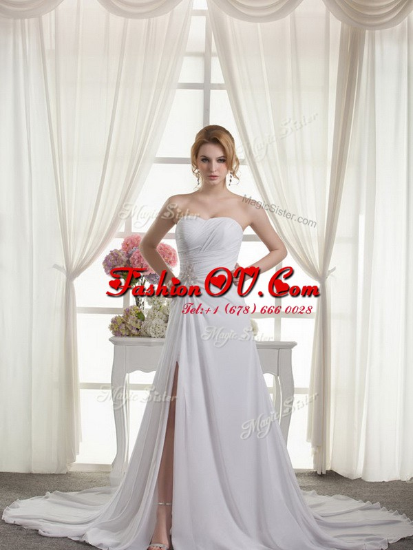 Low Price White Chiffon Lace Up Sweetheart Sleeveless Wedding Dresses Court Train Beading and Appliques and Ruching