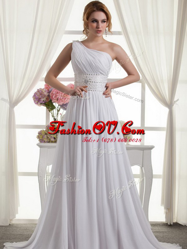 Dynamic One Shoulder Sleeveless Beading and Ruching Lace Up Wedding Gown with White Brush Train