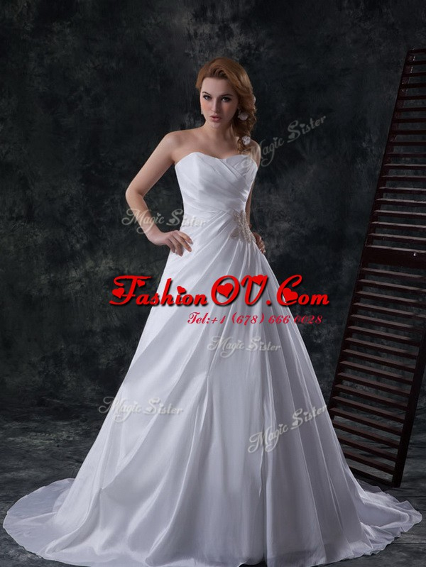 White Lace Up Bridal Gown Ruching Sleeveless Brush Train