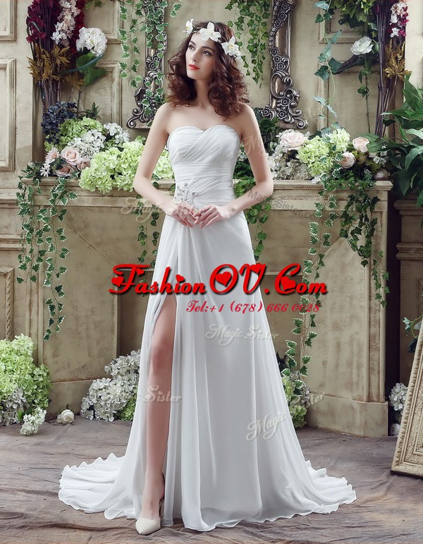 Sweetheart Sleeveless Brush Train Lace Up Wedding Dresses White Chiffon
