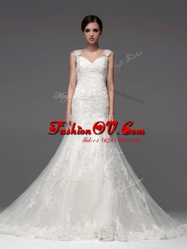 Straps Sleeveless Tulle Wedding Dresses Lace and Appliques Brush Train Lace Up