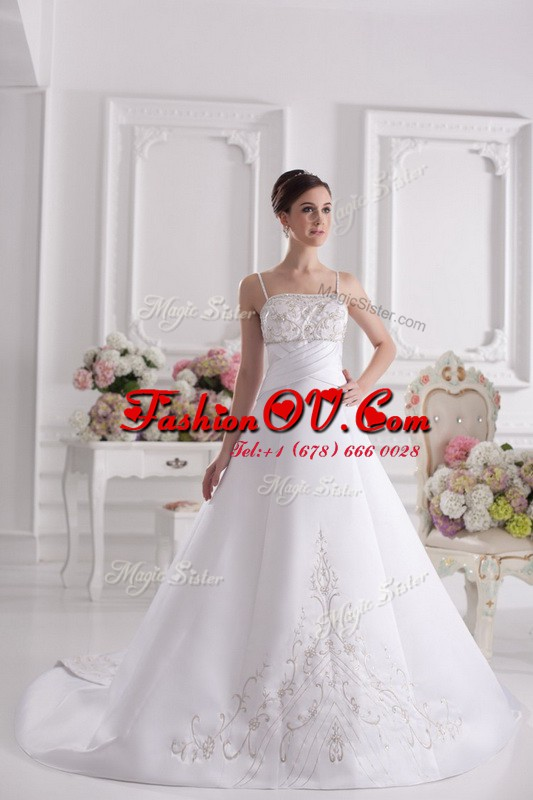 Sleeveless Satin With Brush Train Zipper Wedding Gowns in White with Beading and Embroidery
