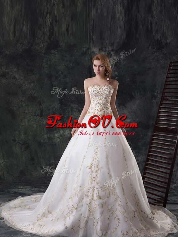 Organza Sweetheart Sleeveless Zipper Beading and Embroidery Wedding Dresses in White