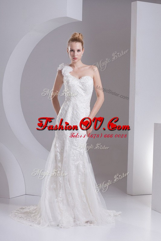 Mermaid One Shoulder Sleeveless Lace Wedding Gowns Lace and Appliques Brush Train Zipper