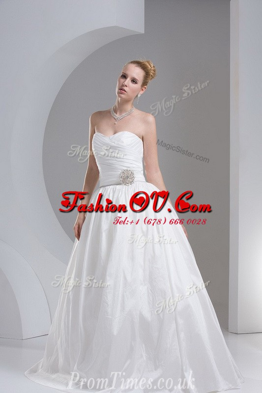 White Sleeveless Beading and Ruching Floor Length Wedding Gowns