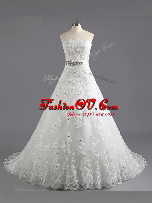 Affordable White A-line Lace Scalloped Sleeveless Beading and Lace With Train Lace Up Wedding Gown Court Train
