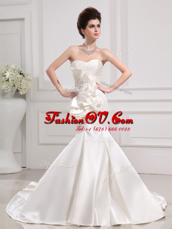 Best Mermaid Ruffled Sleeveless Court Train Zipper With Train Ruffles and Ruching Bridal Gown