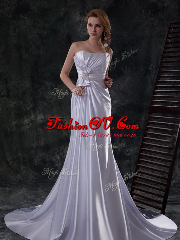 Silver Strapless Lace Up Beading and Ruching and Bowknot Wedding Dresses Brush Train Sleeveless
