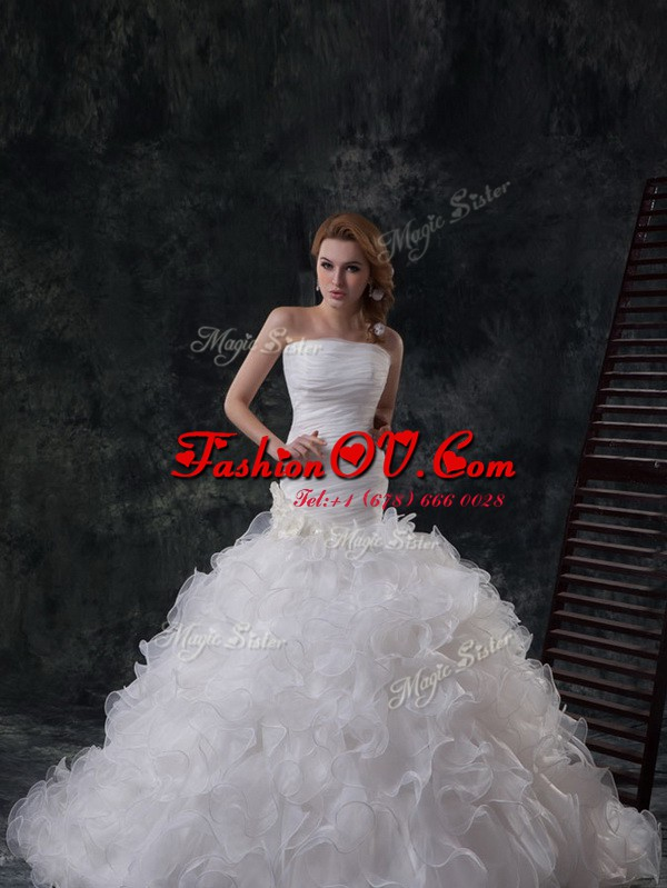 Traditional White Strapless Neckline Ruffles and Ruching Bridal Gown Sleeveless Lace Up