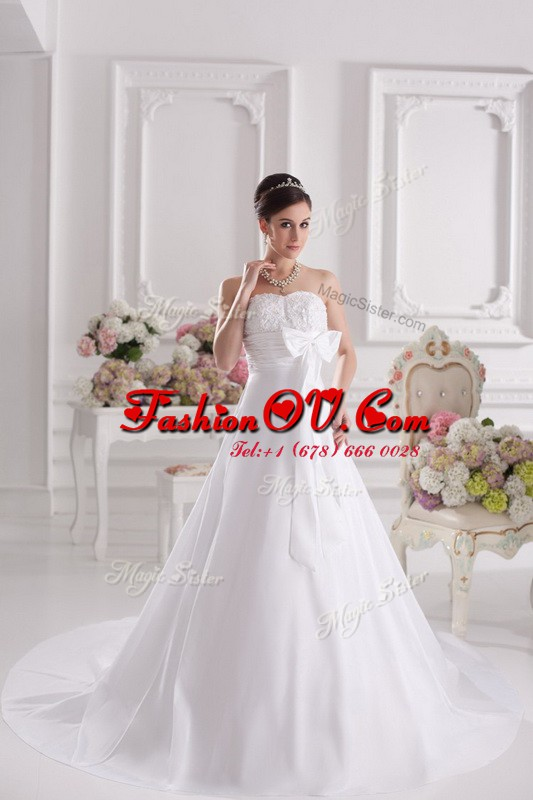 Fashion Lace Up Bridal Gown White for Wedding Party with Lace and Bowknot Court Train