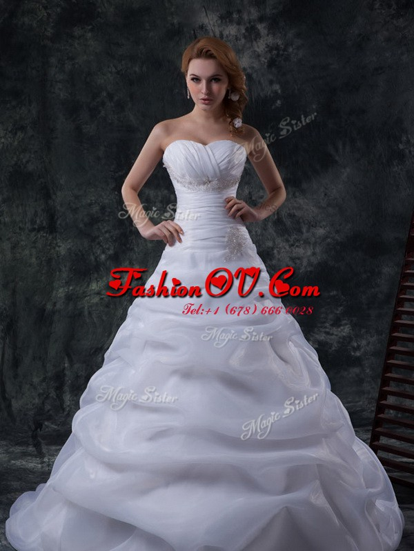 Chic White Organza Lace Up Sweetheart Sleeveless Floor Length Wedding Gowns Brush Train Beading and Ruching and Pick Ups