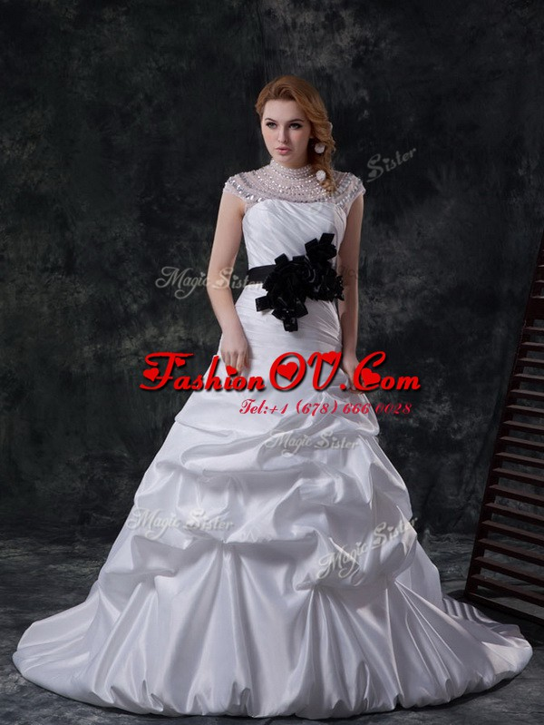 High-neck Cap Sleeves Bridal Gown Brush Train Beading and Ruching and Pick Ups and Hand Made Flower White Taffeta