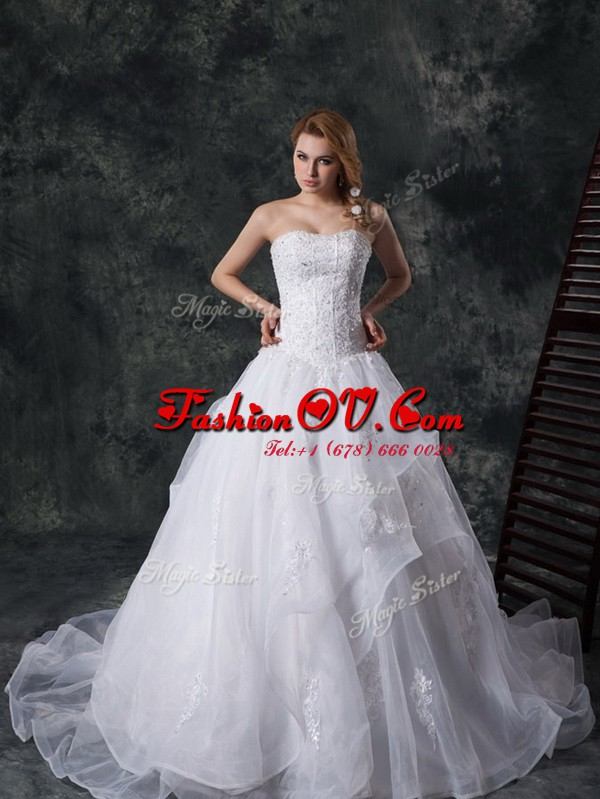 Vintage Sweetheart Sleeveless Organza Wedding Dress Beading and Lace and Appliques Court Train Lace Up