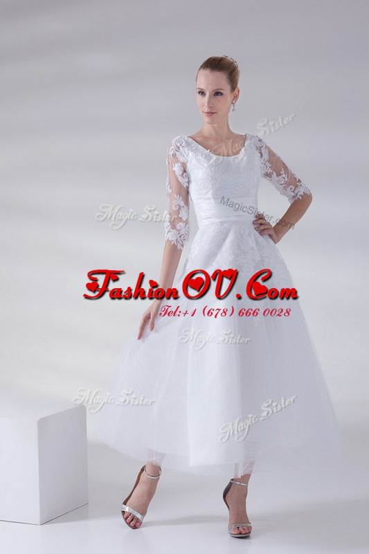 Admirable Scoop Sleeveless Tulle and Lace Wedding Dresses Lace and Appliques Lace Up