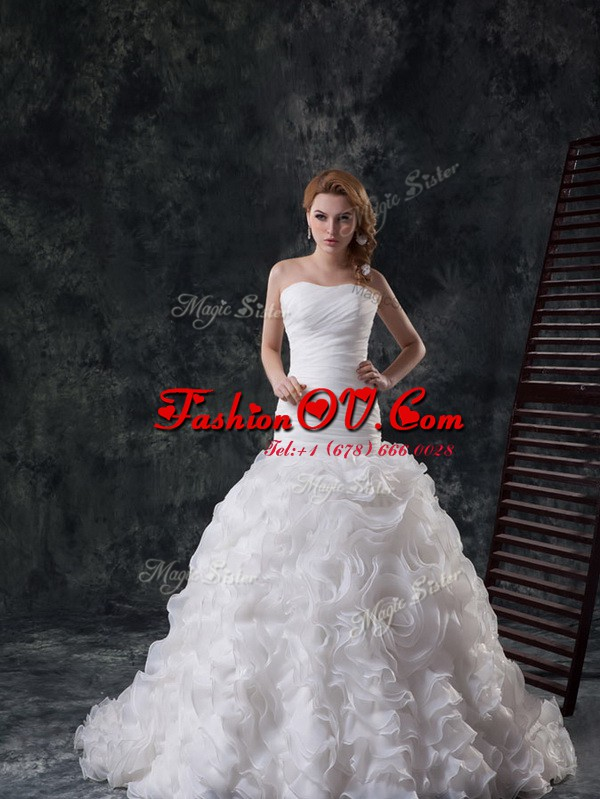 Glamorous Sweetheart Sleeveless Fabric With Rolling Flowers Wedding Dress Ruffles and Ruching Brush Train Lace Up
