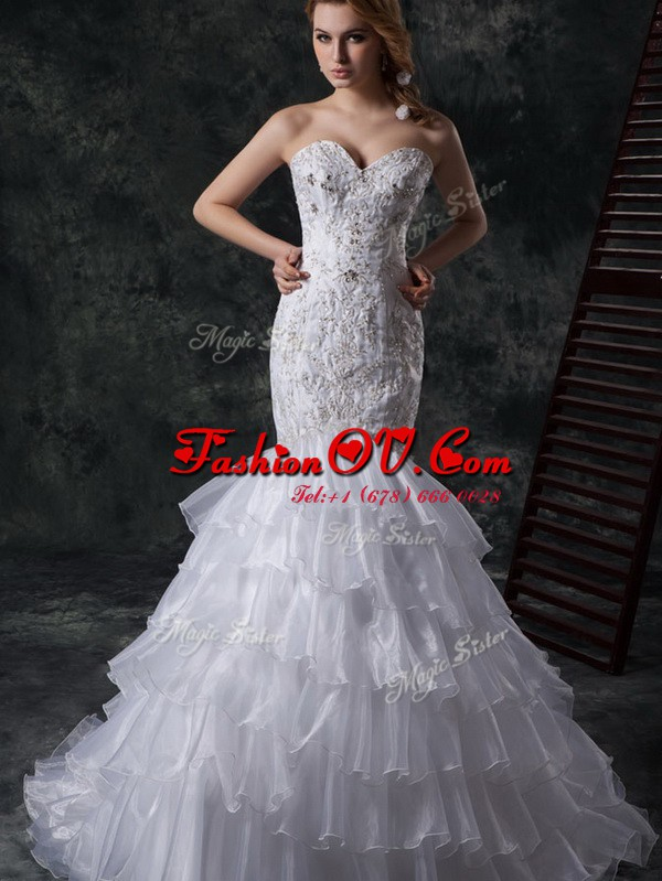 Mermaid White Sleeveless Beading and Appliques and Ruffles Lace Up Bridal Gown