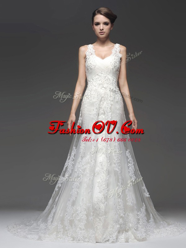 Simple White Chiffon Zipper Straps Sleeveless With Train Wedding Gown Brush Train Lace and Appliques