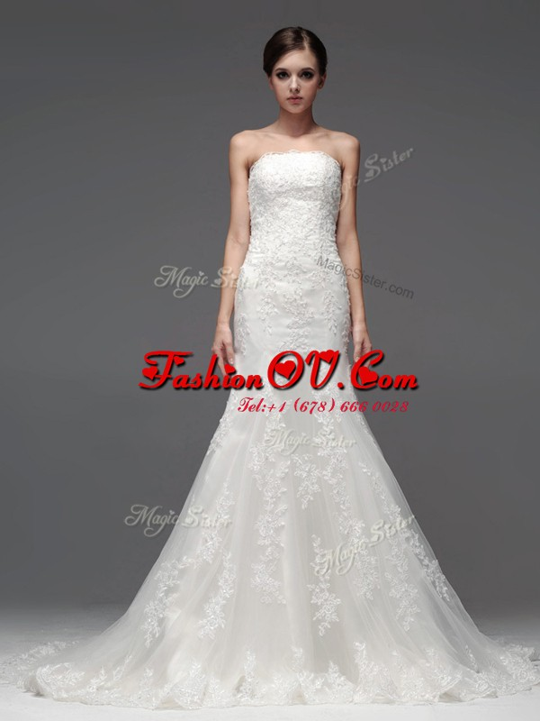 White Wedding Gown Wedding Party and For with Lace Strapless Sleeveless Brush Train Lace Up