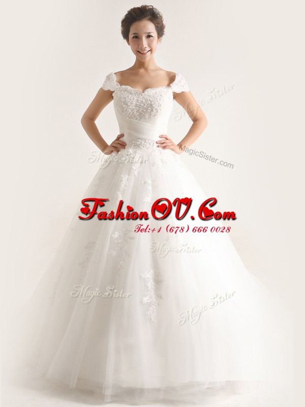 Charming White Lace Up Wedding Dress Lace and Appliques Cap Sleeves With Brush Train
