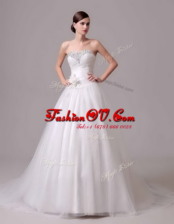 Fashionable White Bridal Gown Wedding Party and For with Beading and Hand Made Flower Sweetheart Sleeveless Brush Train Lace Up