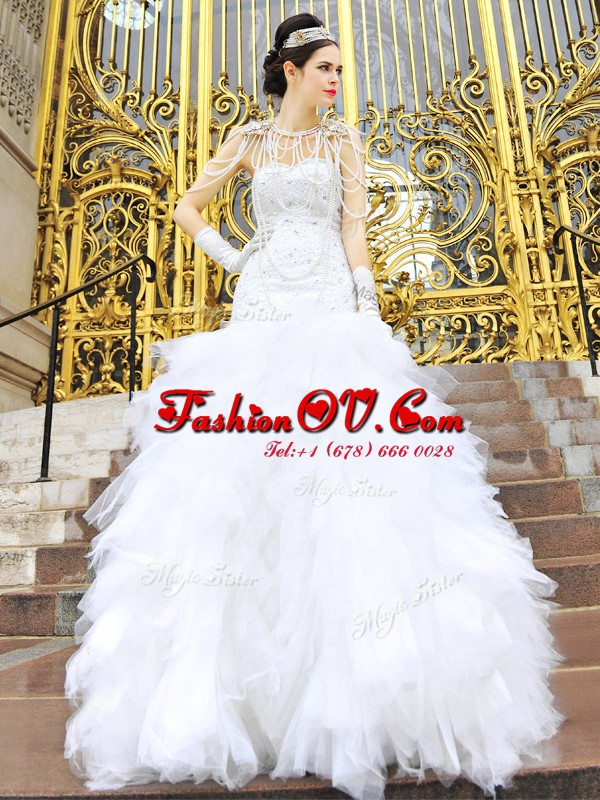 Glorious Sweetheart Sleeveless Zipper Bridal Gown White Tulle