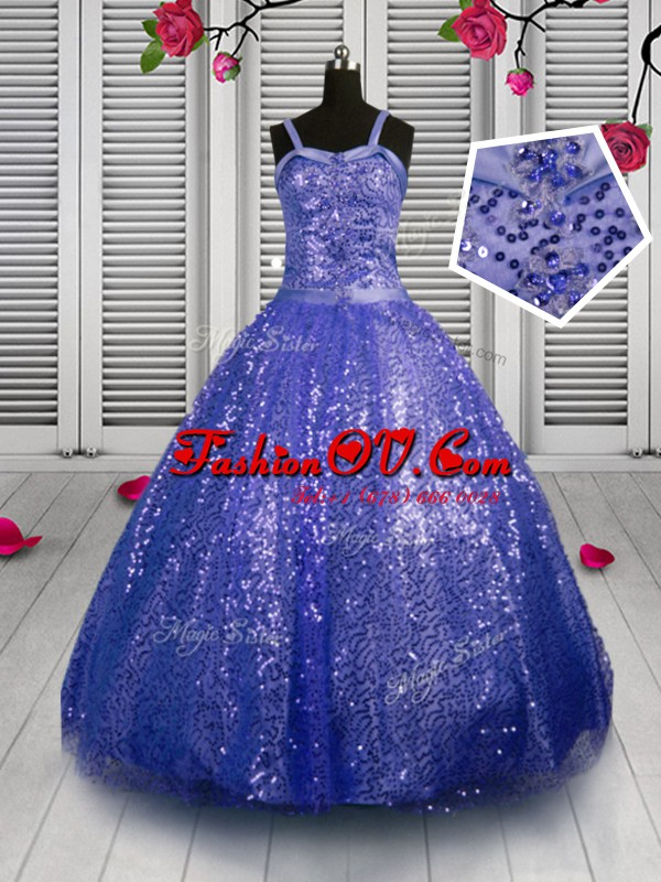 Lovely Beading and Sequins Little Girls Pageant Gowns Blue Lace Up Sleeveless Floor Length