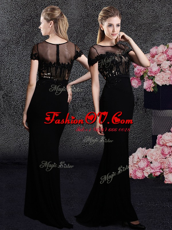 Scoop With Train Black Prom Party Dress Elastic Woven Satin Sweep Train Short Sleeves Appliques and Sequins