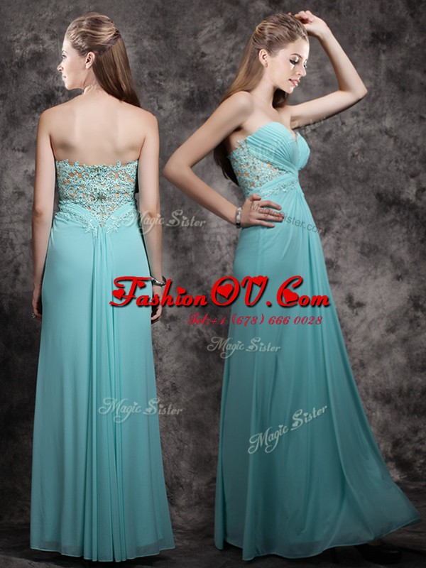Discount Floor Length Aqua Blue Prom Dress Sweetheart Sleeveless Zipper