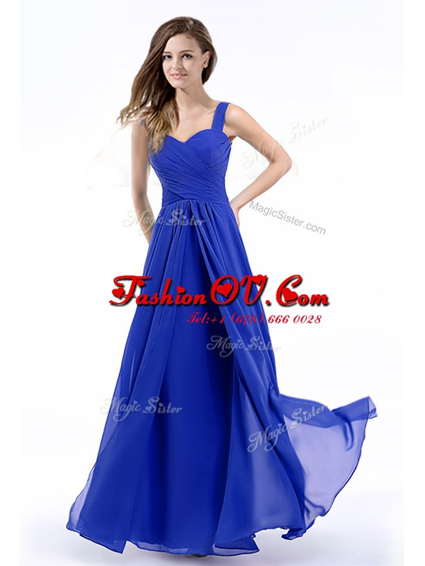 Charming Royal Blue Zipper Straps Hand Made Flower Formal Evening Gowns Chiffon Sleeveless
