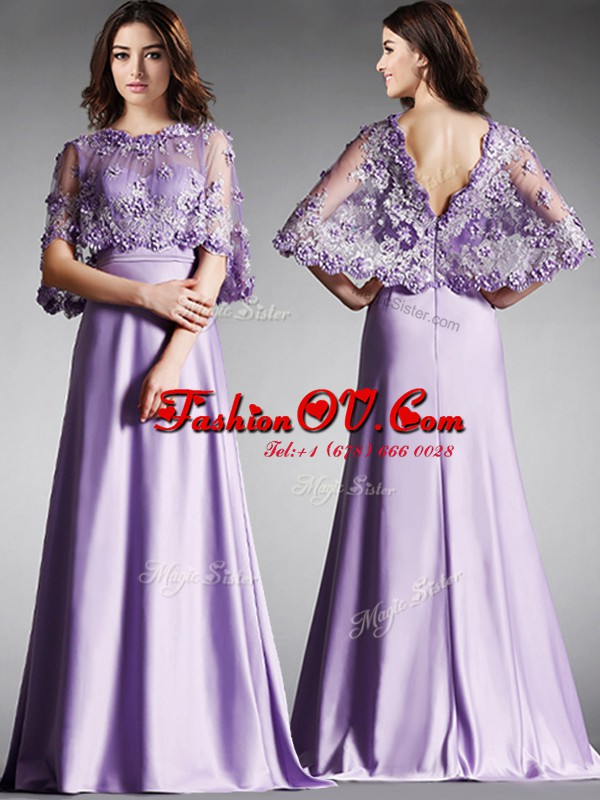 Hot Sale Scoop Half Sleeves Prom Evening Gown Floor Length Lace Lavender Satin