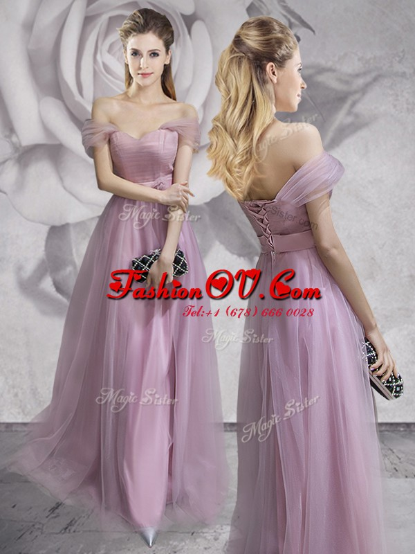 Luxury Off the Shoulder Tulle Sleeveless Floor Length and Lace and Ruching and Bowknot and Hand Made Flower