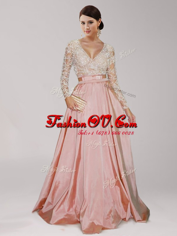 Admirable Peach V-neck Zipper Beading and Belt Long Sleeves