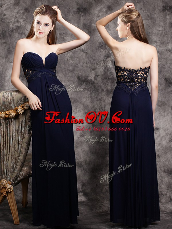 Navy Blue Sleeveless Appliques Floor Length Prom Party Dress