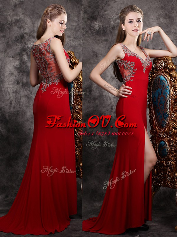 Red Chiffon Zipper Formal Evening Gowns Sleeveless With Brush Train Appliques