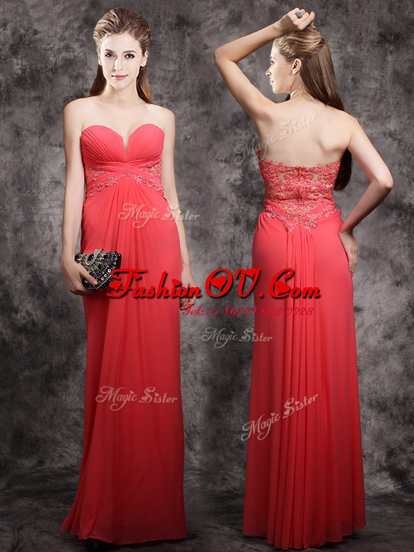 Red Sleeveless Appliques Floor Length